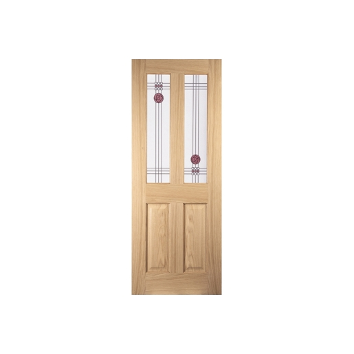 Jeld-wen Oregon 2 Light Mackintosh Interior Amer White Oak Dec Glazed Door 1981838mm