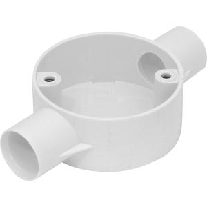 Profix PVC Conduit Box 2 Way Through Box White 25mm