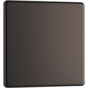 Bg Screwless Flat Plate Black Nickel Blank Plate 1 Gang