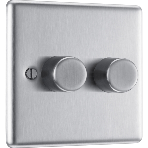 Bg Brushed Steel Dimmer Switch 2 Gang 400W