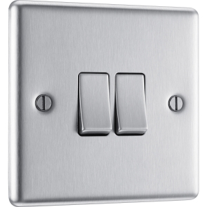 Bg Brushed Steel 10A Switch 2 Gang 2 Way