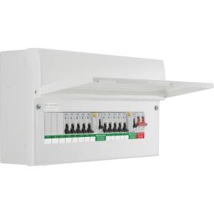 Bg Metal Consumer Unit Dual RCD Type A + 10 MCBs 13 Way