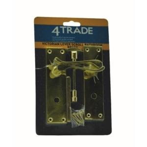 4trade Victorian Scroll Lever Bathroom Lock Handle Brass