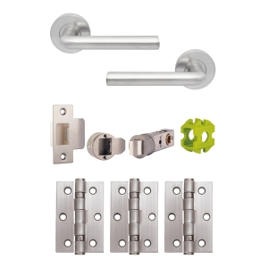 Jigtech JTB72225 Riva Round Rose Lever Handle Door Pack Satin Chrome (Includes 57mm Latch & 3 x Hinges)