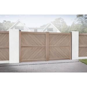 Cambridge Double Swing Flat Top Driveway Gate with Diagonal Solid Infill 3750 x 1800mm Wood Effect