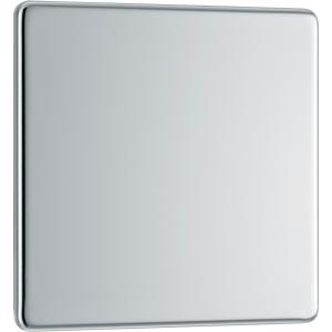 Bg Screwless Flat Plate Polished Chrome Blank Plate 1 Gang