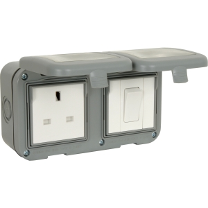 Bg IP55 Socket with Switch 1 Gang 13A + 1 Gang Switch
