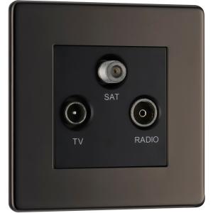 """Bg Screwless Flat Plate Black Nickel TV / Coaxial Sockets TV, FM, Sat Socket"""""""