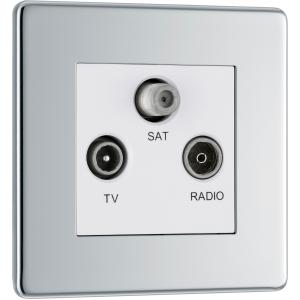 "Bg Screwless Flat Plate Polished Chrome Coaxial Sockets TV, FM, Sat Socket"""