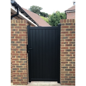 """Canterbury Pedestrian Flat Top Pedestrian Gate with Vertical Solid INFILL, LOCK, Lock Keep and Hinges 1200 x 2200mm Black"""""""
