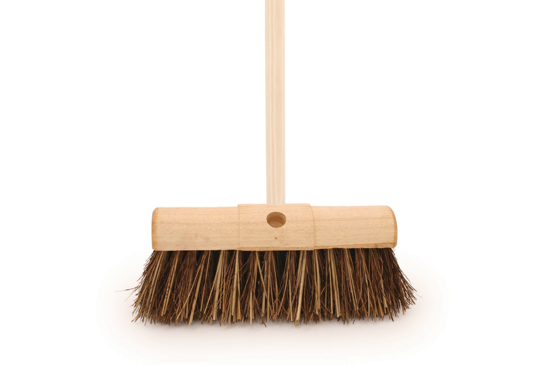 4Trade 13in Bassine/Cane Yard Broom with 54in Handle