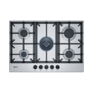 Neff N70 T27DS59N0 5 Burner Gas Hob with Cast Iron Pan Supports Stainless Steel 75cm