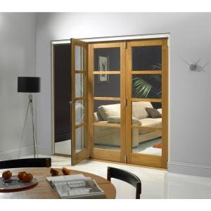 Internal Oak Veneer Shaker 4 Light Door 2074 mm x 1790 mm x 44 mm