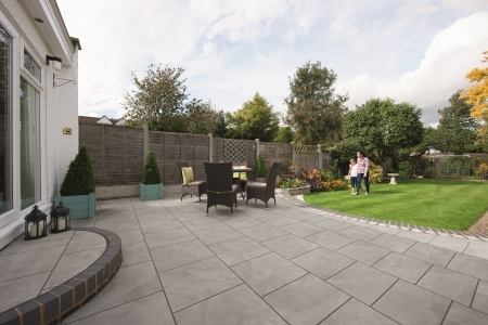 Marshalls Arrento Vitrified Paving Slab Grey 595x595x20mm Pack of 64