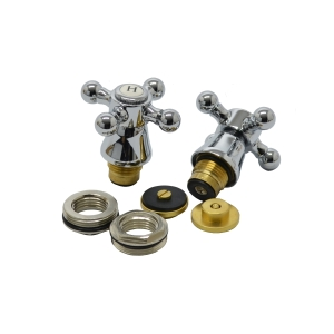 4TRADE 3/4in Cross Top Bath Tap Heads Chrome Plated