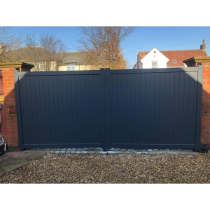 Canterbury Double Swing Flat Top Driveway Gate with Vertical Solid Infill 3000 x 2200mm Grey