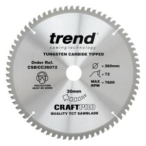 Trend Craft Saw Blade Cc 260mm x 72T x 30mm
