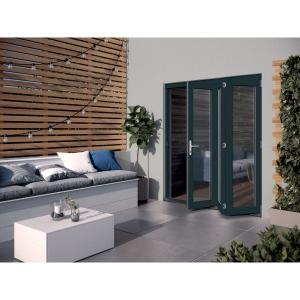 JELD-WEN Bedgbury Finished Solid Hardwood Patio Bifold Door Set Grey - 2094 x 1794 mm