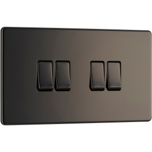 Bg Screwless Flat Plate Black Nickel 10AX Light Switch 4 Gang 2 Way
