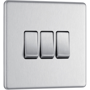 Bg Screwless Flat Plate Brushed Stainless Steel 10AX Light Switch 3 Gang 2 Way