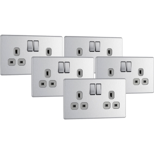Bg Screwless Flat Plate Brushed Stainless Steel 13A Dp Switch Socket 2 Gang Trade Pack