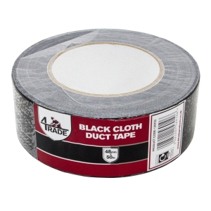 4Trade Black Duct Cloth Tape 48mm X 50m