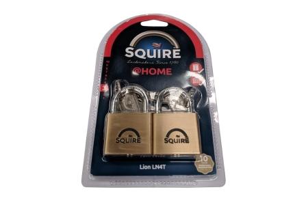 Squire LN4T Twin Pack Lion Padlock Brass 185 x 25 x 115mm