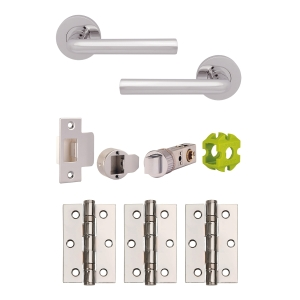 Jigtech JTB72025 Riva Round Rose Lever Handle Door Pack Polished Chrome (Includes 57mm Latch & 3 x Hinges)