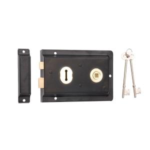 4Trade Reversible Rim Lock Black 150 x 100mm