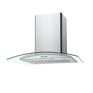 Unbranded 60cm Curved Glass Chimney Hood with Push Button Controls Stainless Steel & Glass NGM60NX