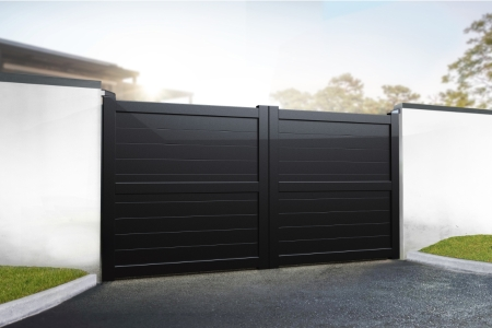 Dartmoor Double Swing Flat Top Driveway Gate with Horizontal Solid Infill 3250 x 1800mm Black