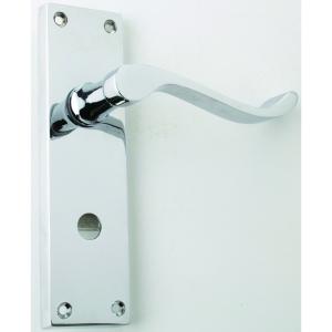 4trade Victorian Scroll Lever Bathroom Lock Handle Chrome