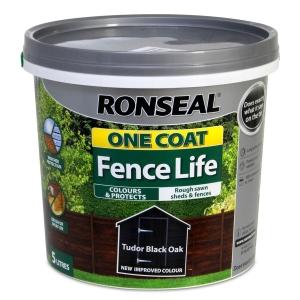 Ronseal One Coat Fence Paint Tudor Black Oak 5L