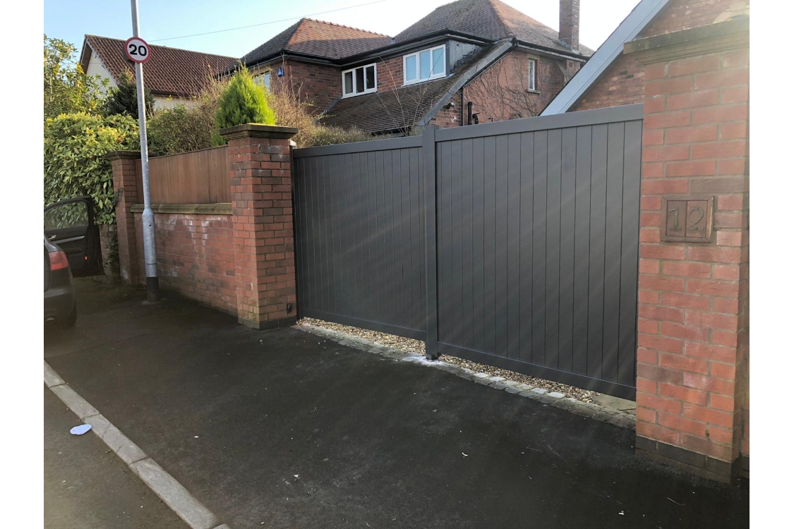 Canterbury Double Swing Flat Top Driveway Gate with Vertical Solid Infill 3000 x 1600mm Grey