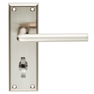 4FIREDOORS Vogue FS963 Lever Handle On Bathroom Back Plate Satin Nickel