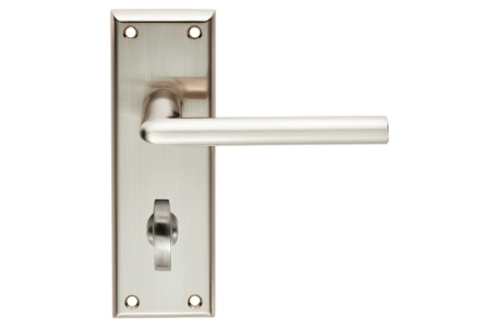 4FIREDOORS Vogue FS963 Lever Handle On Bathroom Back Plate Satin Nickel