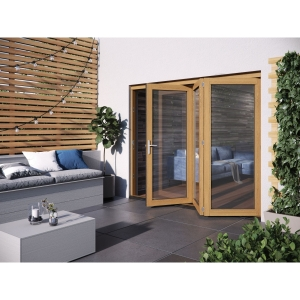 JELD-WEN Kinsley Finished Solid Hardwood Patio Bifold Door Set Golden Oak - 2094 x 2394 mm