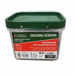 Forgefix Decking Screw Pozi St Green ANTI-CORROSION Treated 4.5 x 60mm 1000 Pack