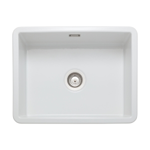 Rangemaster Rustique Single Bowl Inset Or Undermount Sink White 598 x 462mm