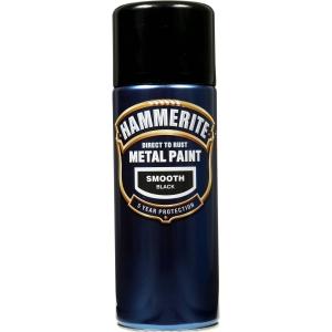Hammerite Metal Paint Smooth Black 400ml Aerosol