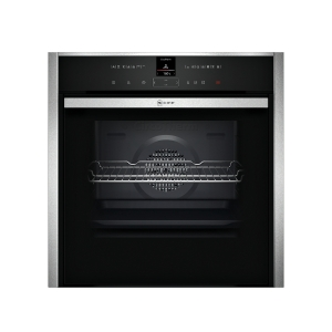 Neff N70 B57VR22N0B Single Oven with Variosteam and Slide & Hide Black Glass & Stainless Steel