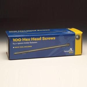 Pro Carpenters Mate Hex Head Screws 190mm 10 Pack