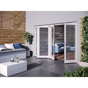 JELD-WEN Bedgebury Finished Solid Hardwood Patio Bifold Door Set White - 2094 x 2994 mm