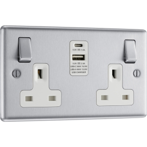 Bg Brushed Steel 13A White Insert Switched Socket + A & C Type USB 2 Gang + 2 USB 4.2A