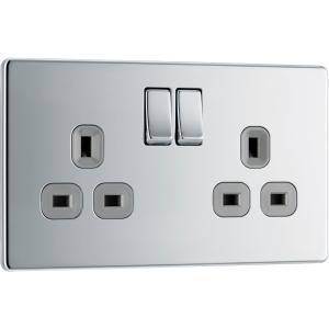Bg Screwless Flat Plate Polished Chrome 13A Dp Switch Socket 2 Gang