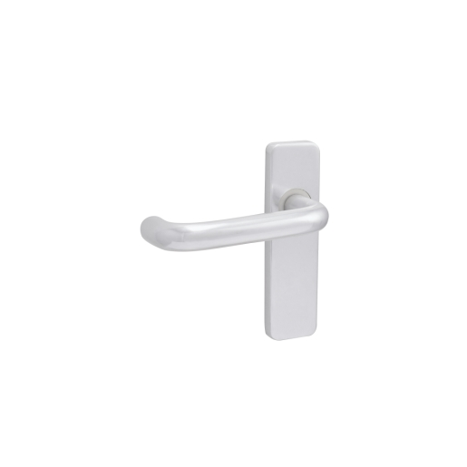 4FIREDOORS FS9680 Round Bar Lever Handle On Back Plate Polished Aluminium 19mm