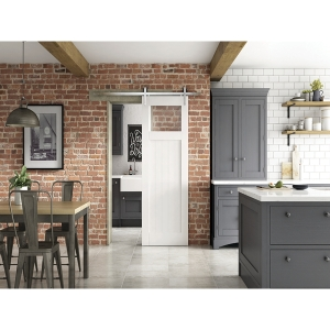 Glazed Primed Cottage Clear Glazed Provincial Sliding Barn Door 862mm