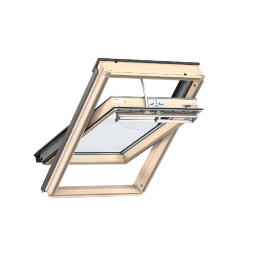 Velux INTEGRA® Solar Powered CENTRE-PIVOT Roof Window 942 x 1398mm Lacquered Pine Ggl PK10 307030