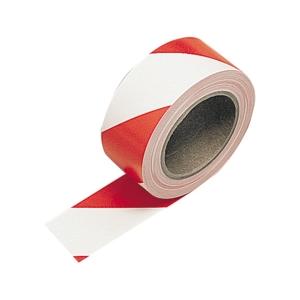 Greenhams Contractor Hazard Warning Tape Self Adhesive Red White 50mm x 3m