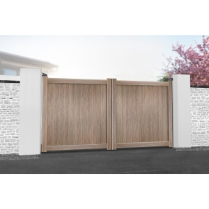 Canterbury Double Swing Flat Top Driveway Gate with Vertical Solid Infill 3500 x 2000mm Wood Effect
